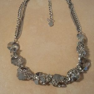 Silvet Tone Gray Glass Stone Twisted Necklace